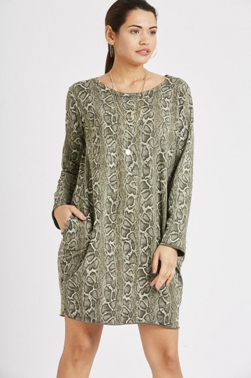 Snake Print Long Sleeve Cotton Dress in Khaki