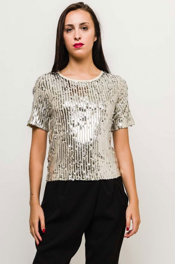 Nude Sequin Party Top