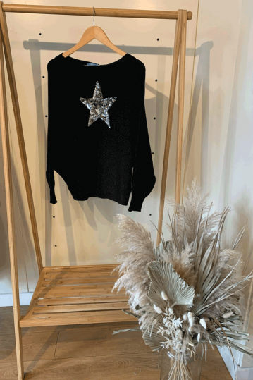 Sequin Star Batwing Top in Black