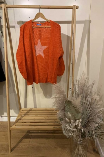 Star Back Cardigan in Orange