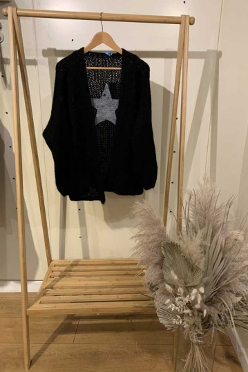 Star Back Cardigan in Black