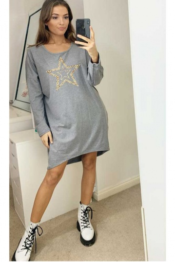 Leopard Star Sweatshirt Dress