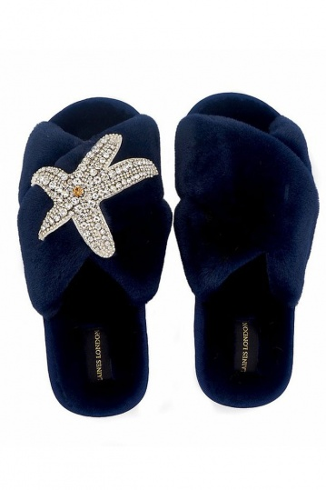 Laines London Navy Starfish Brooch Slippers