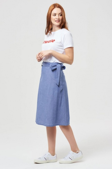 Sugarhill Boutique Jasmine Cotton Chambray Skirt