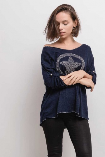 Sparkle Star Motif Top In Navy