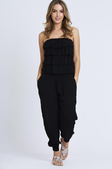 Ruffle Bandeau Jumpsuit in Black