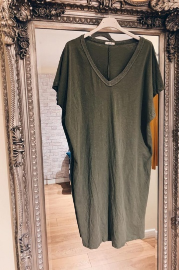 Trixie Tshirt Dress in Khaki