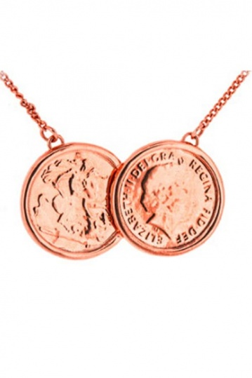 Two Coin Necklace in Rose Gold