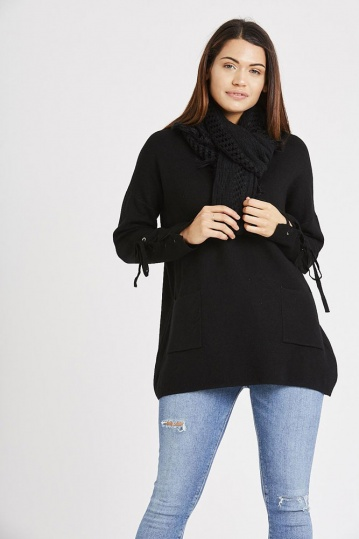 Two Pocket Tie Sleeve Jumper With Scarf in Black