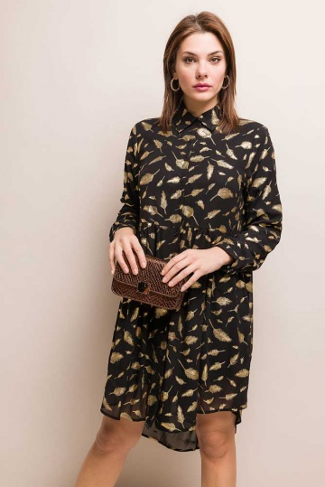 Gold Leaf Shirt Dress