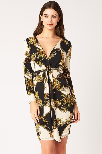 Vesper Terina Chain Print Plunge Mini Dress