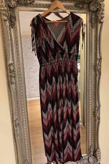 Wave Print Maxi Dress in Red
