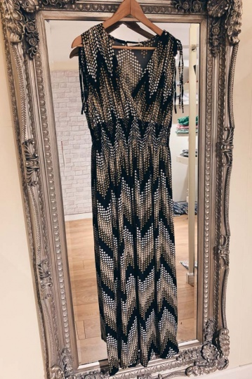Wave Print Maxi Dress in Mocha