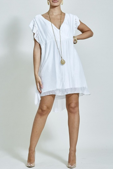 White Cross Over Silky Dress