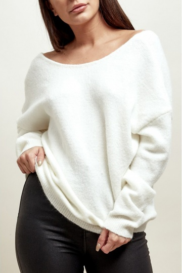 Sallie Bow Back Jumper in White