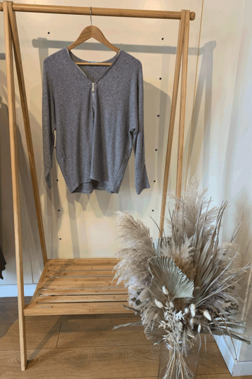 Millie Zip Front Top in Grey